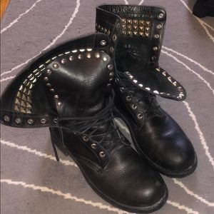 Studded Frye lace up Rogan boots
